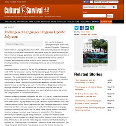 Endangered Languages Program Update: July 2011