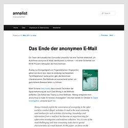annalist » Das Ende der anonymen E-Mail