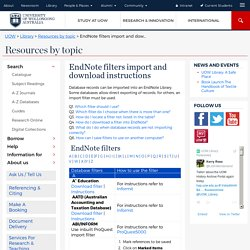 EndNote filters import and download instructions - Library @ UOW