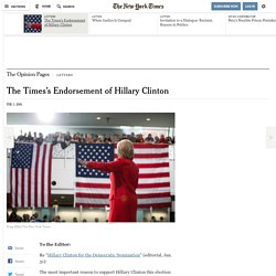 The Times's Endorsement of Hillary Clinton