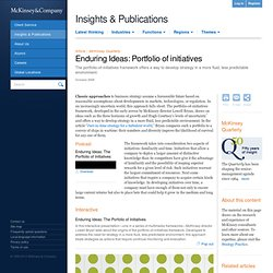 Enduring ideas: Portfolio of initiatives - McKinsey Quarterly -