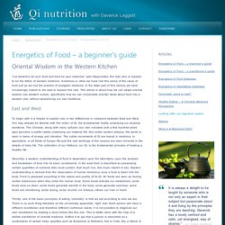 Energetics of Food – a beginner's guide