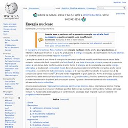Che cosa si intende per energia nucleare