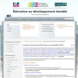 EDD : les textes - Energie et environnement (EE) dans la nouvelle filière STI2D