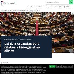 VIE PUBLIQUE 12/11/19 Loi du 8 novembre 2019 relative à l'énergie et au climat