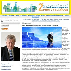 Edito / Energie solaire : quand le possible devient l'évidence (Tecsol blog)