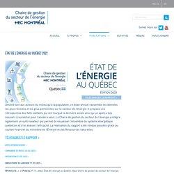 État de l'énergie au Québec 2021 – Chaire de gestion du secteur de l'énergie