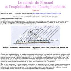 Energie solaire avec miroirs de Fresnel