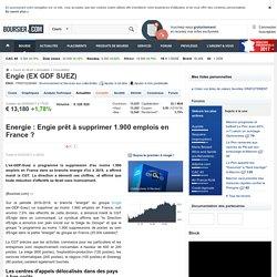 Energie : Engie prêt à supprimer 1.900 emplois en France ?