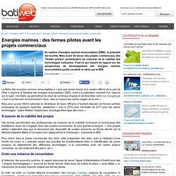 Energies marines : des fermes pilotes avant les projets commerciaux : 06-05-2013