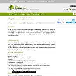 Fiche métier Chargé de mission énergies renouvelables / Maîtrise de l'énergie / Energies