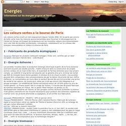 Les valeurs vertes a la bourse de Paris