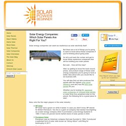 Solar Energy Companies: Which Solar Panels Are Best For Your Installation?