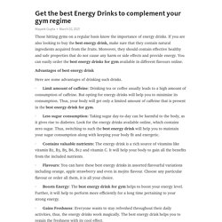 Get the best Energy Drinks to complement your gym regime – Telegraph
