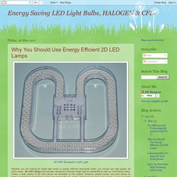 Energy Saving LED Light Bulbs, HALOGEN & CFLs: Why You Should Use Energy Efficient 2D LED Lamps