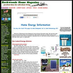 Home Energy Information: Alternative energy resources from Backwoods Home Power