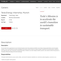 Tesla Energy Internship, Munich