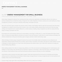 Energy Management for Small Business
