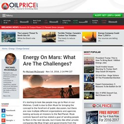 Energy On Mars: What Are The Challenges?