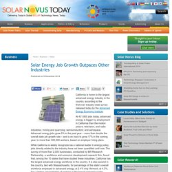 Solar Energy Job Growth Outpaces Other Industries