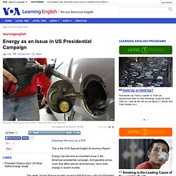 Energy as an Issue in US Presidential Campaign