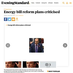 Energy bill reform plans criticised