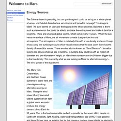 Energy Sources - Welcome to Mars