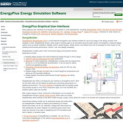 Plus Energy Simulation Software: EnergyPlus Graphical User Interfaces
