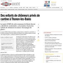 Des enfants de chômeurs privés de cantine à Thonon-les-Bains