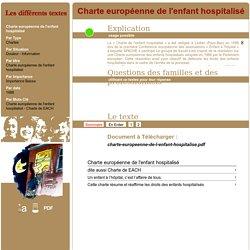 Charte européenne de l'enfant hospitalisé 1988