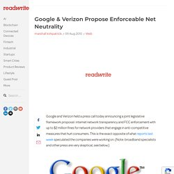 Google & Verizon Propose Enforceable Net Neutrality