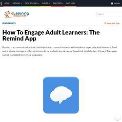 How To Engage Adult Learners: The Remind App