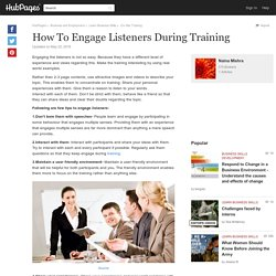 How To Engage Listeners During Training