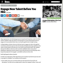 Engage New Talent Before You Hire