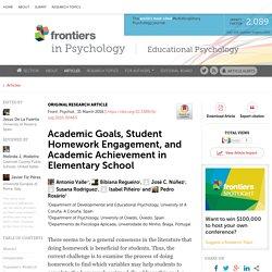 Academic Goals, Student Homework Engagement, and Academic Achievement in Elementary School
