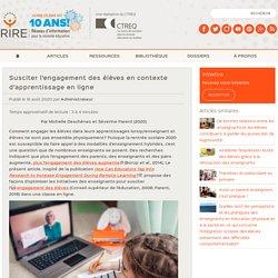 Susciter l'engagement des élèves en contexte d'apprentissage en ligne