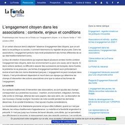 L'engagement citoyen dans les associations : contexte, enjeux et conditions