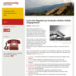 Let's Get Digital! 50 Tools for Online Public Engagement