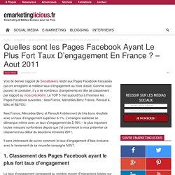 Quelles sont les Pages Facebook Ayant Le Plus Fort Taux D'engagement En France ? – Aout 2011