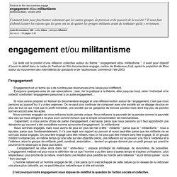 Engagement et/ou militantisme