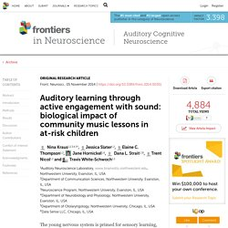 Auditory learning through active engagement with sound: biological impact of community music lessons in at-risk children