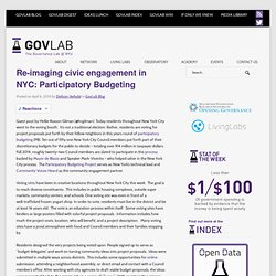 Re-imaging civic engagement in NYC: Participatory Budgeting