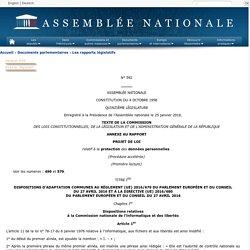 N°592 annexe 0 - Rapport sur le projet de loi, après engagement de la procédure accélérée, relatif à la protection des données personnelles (n°490).