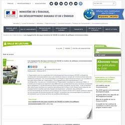 MEDDE CGDD 28/10/13 Les engagements des pays membres de l'OCDE en matière de politiques environnementales
