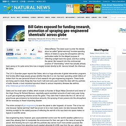 """Bill Gates exposés pour la recherche de financement, la promotion de la pulvérisation """"chemtrails"""" géo-ingénierie à travers monde"""