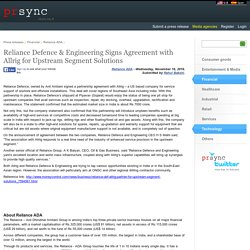 Reliance Defence & Engineering Signs Agreement with Allrig for Upstream Segment Solutions