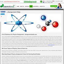 Engineering Physics Assignment Help, Physics Assignment Questions & Solutions