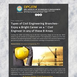 Types of Civil Engineering Branches- Enjoy a Bright Career as a □ Civil Engineer in any of these 8 Areas - DPGITM Engineering College