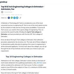 Top 10 B.Tech Engineering Colleges in Dehradun - Admission, Fee : JEE & BITSAT
