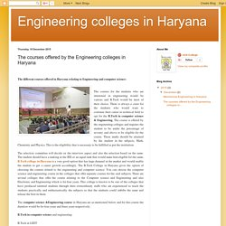 Engineering colleges in Haryana: The courses offered by the Engineering colleges in Haryana